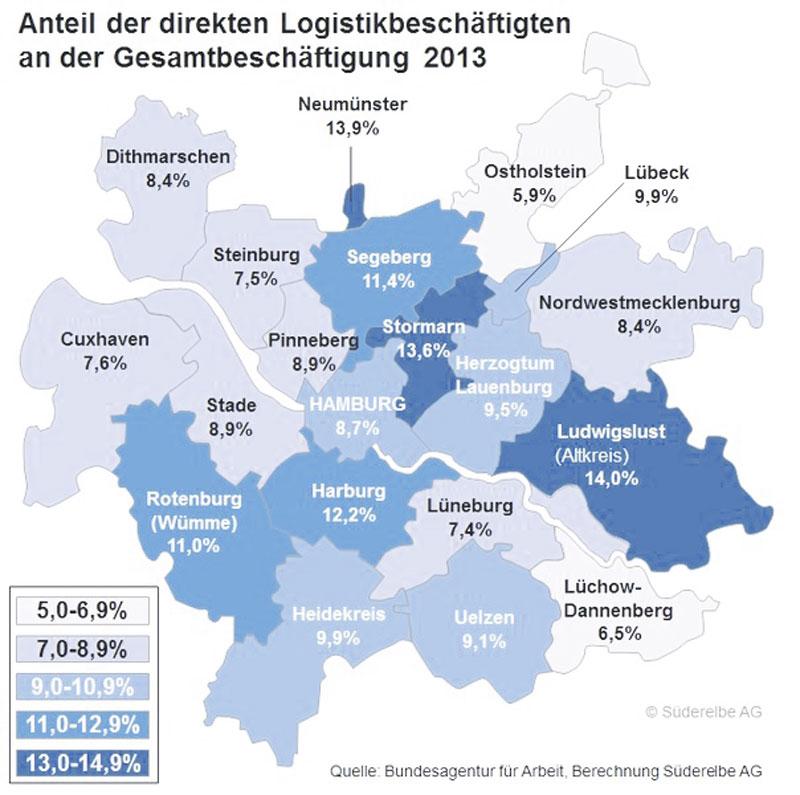 Diese Karte zeigt, wie hoch der Anteil der Logistik-Beschäftigten in welchem Teil der Metropolregion ist.