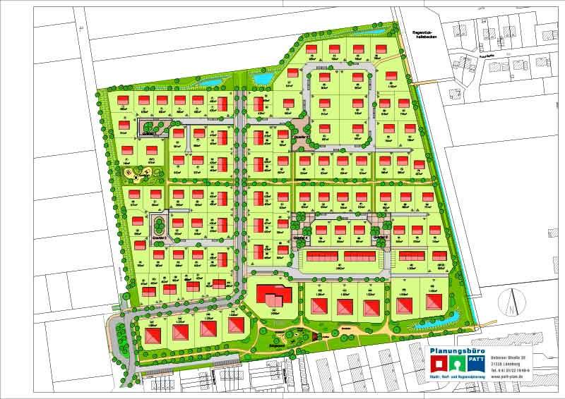 """Fünf Quartiersplätze und ein Bürgerpark geben den """"Winsener Wiesen"""" eine besondere Note."""
