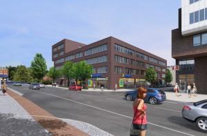 Das Brückenquartier wird ebenfalls am Veritaskai gebaut. Im Erdgeschoss wird Edeka-Ziegler eröffnen - der erste Lebensmittelhandel im Harburger Binnenhafen.