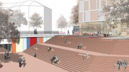 Die große Freitreppe seitlich vom Fußgängertunnel zwischen Seevepassage und Lüneburger Straße ist nur realisierbar, wenn die marode Harburg-Center-Ruine am Harburger Ring (führt über den Tunnel) abgerissen wird. Entwurf: ANNABAU