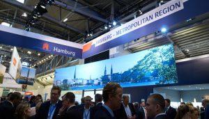 Ein hochfrequentierter Zielpunkt auf der EXPO real in München: der Hamburger Gemeinschaftsstand.