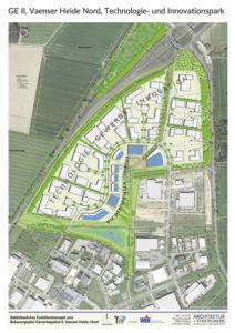 Dieser Plan zeigt die Dimension des TIP, der im Dreieck Hamburger Straße und B75 entstehen soll. Die blauen Gebäude stellen zunächst als Platzhalter den zentral gelegenen NiedersachsenCampus dar. Hier soll ein Hochschulstandort neuen Typs realisiert werden.