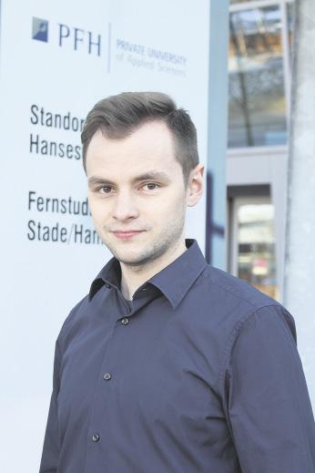 Marcel Drewes, drittes Semester im Studiengang General Management (B.Sc.), PFH Hansecampus Stade.