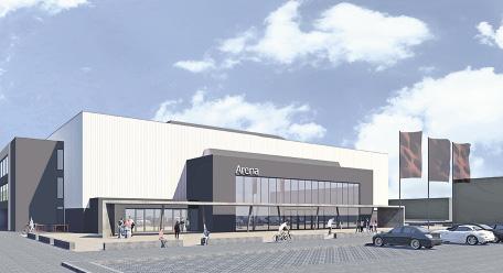 So soll die Lüneburger Arena, die bis zu 3500 Zuschauer aufnehmen kann, nach aktuellen Plänen aussehen. Grafik: Landkreis Lüneburg / Architekturbüro Bocklage & Buddelmeyer