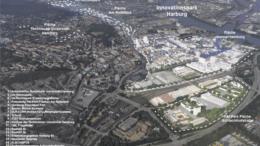 Die weiße Linie zeigt, wo überall in Harburg Technologie und Wissenschaft die Grundlage für einen natürlich gewachsenen F&I-Park schaffen.